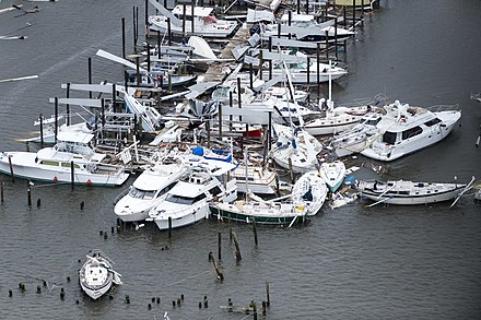 Damage by Harvey to a marina in Rockport, Texas, on August 28, 2017 Hurricane Harvey (2017) 170828-Z-FG822-026 (36127995543).jpg