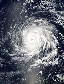 A satellite image depicting a mature hurricane with a well-developed eye and astounding spiral banding.