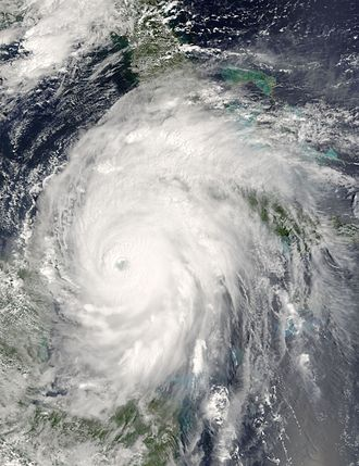 Effects of Hurricane Ivan in the Greater Antilles - Satellite image of Hurricane Ivan passing through the Yucatán Channel between Cuba and the Yucatán Peninsula