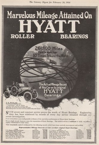 Hyatt Roller Bearing Company - Advertisement in The Literary Digest of 26 February 1916