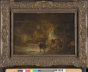 Barn interior with peasant and horse