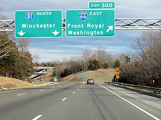 Interstate 66 - I-66's western terminus in Middletown, Virginia, where it splits from I-81
