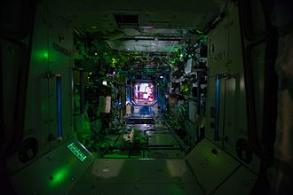 Destiny (ISS module) - Interior view of the US lab with the lights turned off, i.e. while the crew sleeps