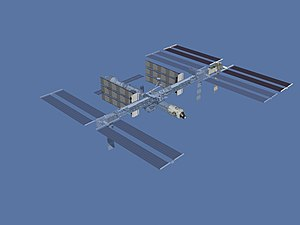 STS-120 - Illustration of the ISS after STS-120, highlighting addition of the Harmony node.