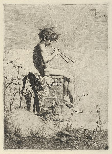 File:Idyll- a naked youth seated outdoors on a plinth playing a double flute, a goat on the ground before him MET DP854197.jpg