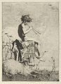 Idyll- a naked youth seated outdoors on a plinth playing a double flute, a goat on the ground before him MET DP854197.jpg