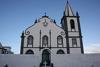 Feteira (Horta) - The front facade of the parochial church of Feteira, dedicated to the Holy Spirit