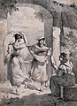 Il saltarello (Two women dance as another plays the tambourine) - Lithograph by Hortense Lescot, Wellcome.jpg