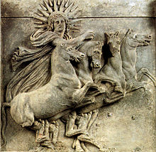 Relief showing Helios, sun god in Greco-Roman mythology. From the North-West pediment of the temple of Athena in Ilion (Troy).