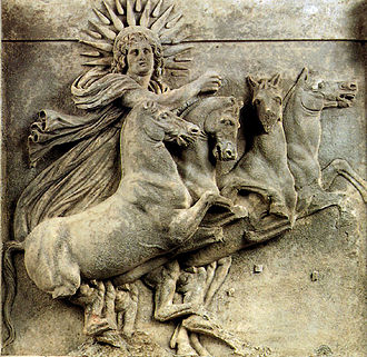 Solar symbol - Helios with a radiate halo driving his chariot (Ilion, 4th century BC; Pergamon Museum)
