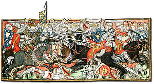 Fourteenth-century painting of chaotic battle