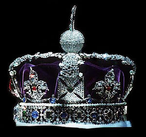 Imperial crown - The British Imperial State Crown viewed from the side with the front facing left (the Black Prince's Ruby, and the Cullinan II are just visible in profile).