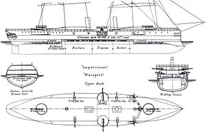Imperieuse-class cruiser - Starboard elevation and deck plan, from Brassey's naval annual 1888-9