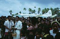 Inaugural flight into Marakei Airport, Kiribati by Air Pacific de Havilland Heron (DQ-FAC) (1).jpg