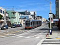 Inbound train at Taraval and 30th Avenue (1), September 2018.JPG