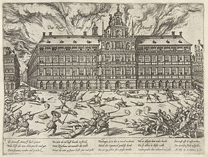 Army of Flanders - Mutinous troops of the Army of Flanders ransack the Grote Markt during the Sack of Antwerp, in a Dutch engraving of 1576 by Franc Hogenburg.