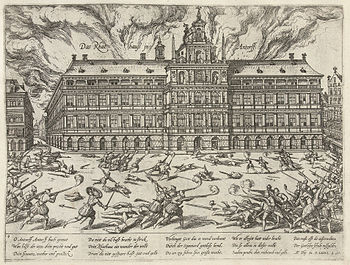 """The fire in the city hall of Antwerp during the """"Spanish Fury"""" (picture by Frans Hogenberg)"""
