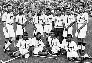 Field hockey at the 1936 Summer Olympics - India's field hockey team, captained by hockey wizard Dhyan Chand (standing second from left), was the gold medal winner