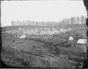 96th Pennsylvania Volunteer Infantry - Infantry regiment in camp. (Probably 96th Pennsylvania Infantry at Camp Northumberland near Washington, DC, February, 1862)... - NARA - 524905
