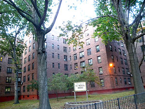 Looking northeast at Ingersoll Houses of NYCHA...