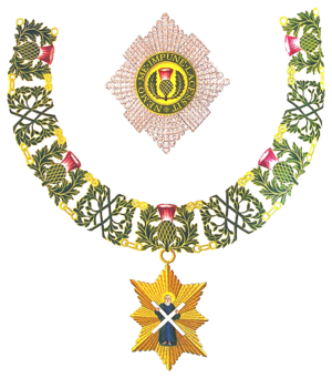 Royal prerogative in the United Kingdom - Image: Insignia of Knight of the Thistle