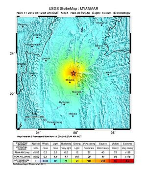 2012 Shwebo earthquake - USGS shake map for the earthquake