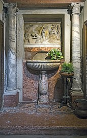 Interior of San Pantaleone (Venice) Fonte battesimale.jpg