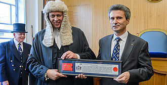 City Remembrancer - Paul Double presenting Ion Jinga with the Freedom of the City, 13 June 2014