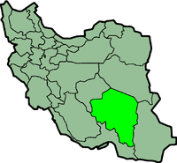 Map of Iran with कर्मान highlighted.