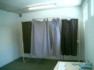French presidential election, 2007 - Voting booth in Vaulnaveys-le-Haut.