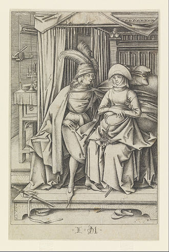 Israhel van Meckenem - A Couple Seated on a Bed, after 1495