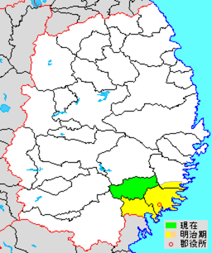 Kesen District, Iwate - Map showing original extent of Kesen District in Iwate Prefecture  colored area=original extent in Meiji period; green=present area