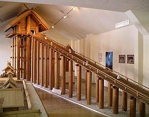 Taisha-zukuri - Reconstruction model of the ancient Izumo-taisha honden, based on remains of old pillars found on the site.