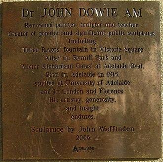 John Dowie (artist) - Image: J150W statue Dowie text