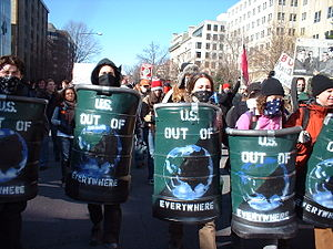 Riot shield - 27 January 2007 anti-war protest in Washington, DC: demonstrators with improvised riot shields
