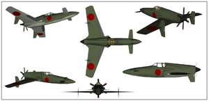 Kyushu J7W - Computer graphic images of J7W1 as viewed from several angles