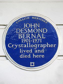 John desmond bernal 1901 1971 crystallographer lived and died here