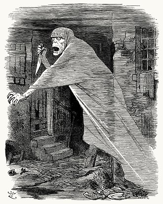 "Whitechapel murders - The ""Nemesis of Neglect"", an image of social destitution manifested as Jack the Ripper, stalks Whitechapel in a Punch cartoon of 1888 by John Tenniel"