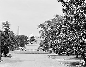 Lafayette Square, Washington, D.C. - The Andrew Jackson statue (pictured circa 1900) was erected in Lafayette Park in 1853.