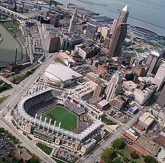 Gateway Sports and Entertainment Complex - 1999 aerial view of the complex and downtown Cleveland, Ohio