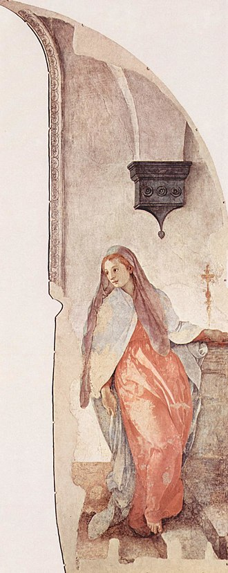 Annunciation (Pontormo) - Image: Jacopo Pontormo Virgin Annunciate (detail) Cappella Capponi, S. Felicita, Florence