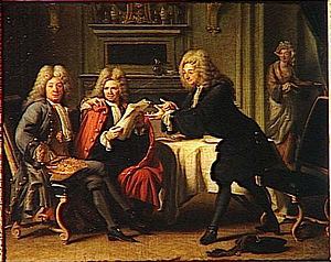 Jacques Autreau - Bodin, Dufresny and Crébillon at the Maison d'Auteuil, painting from 1716 now in the Palace of Versailles.