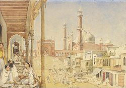 Jama Masjid, Delhi, watercolour, 1852