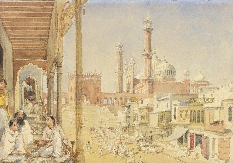 Jama Masjid, Delhi, watercolour, 1852