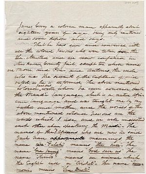 United States v. The Amistad - First page of the deposition of James Covey concerning La Amistad prisoners held in the New Haven, Connecticut jail, October 4, 1839