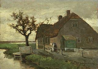 Boerenhuis aan een vaart