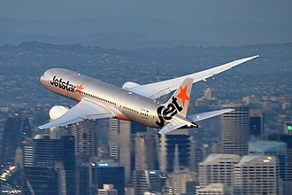 Jetstar Airways - A Boeing 787 Dreamliner of Jetstar shortly after taking off from Sydney Airport