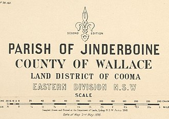 Lands administrative divisions of New South Wales - The key from a typical cadastral map from the 1890s showed four types of subdivisions; the parish, county, land district and land division. This one is located in the County of Wallace