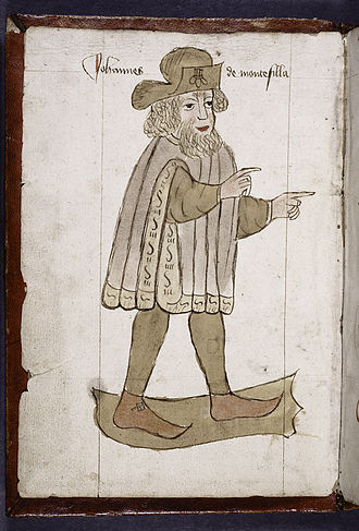 John Mandeville - Full-page portrait of Sir John Mandeville. Created 1459.
