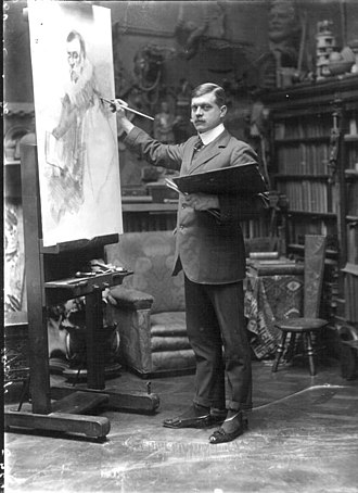 John Hassall (illustrator) - John Hassall photographed in his studio on 24 July 1909
